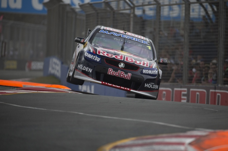 Jamie Whincup´s V8 race car in action at Gold Coast