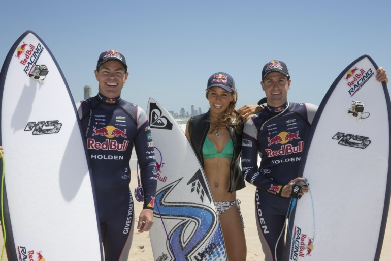 Jamie Whincup and Sally Fitzgibbons surfing at gold coast